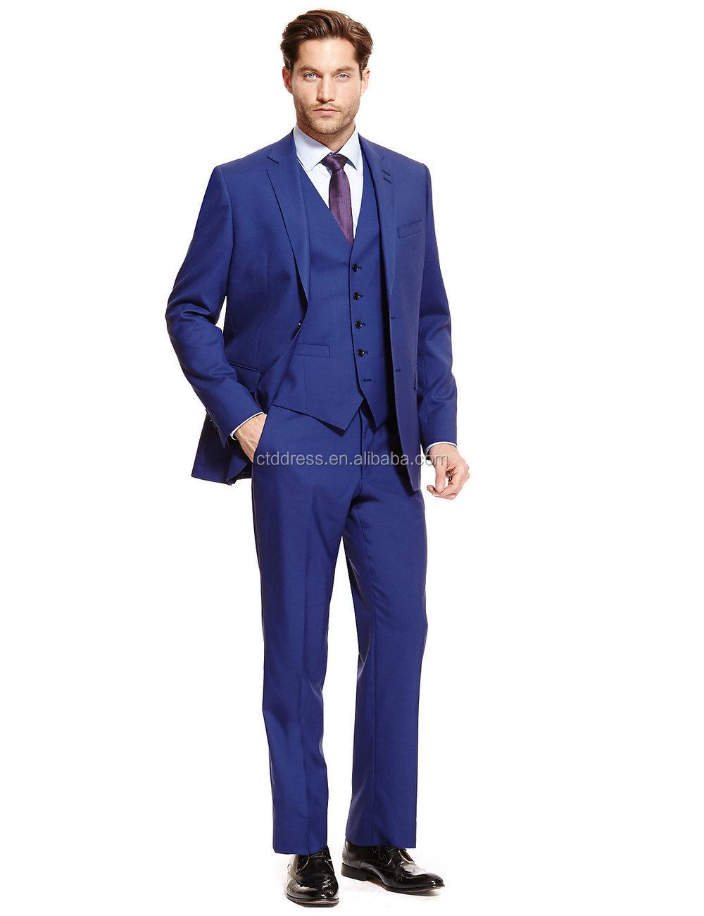 2015 New Arriving High End 100% Wool Royal Blue Men Three Piece ...