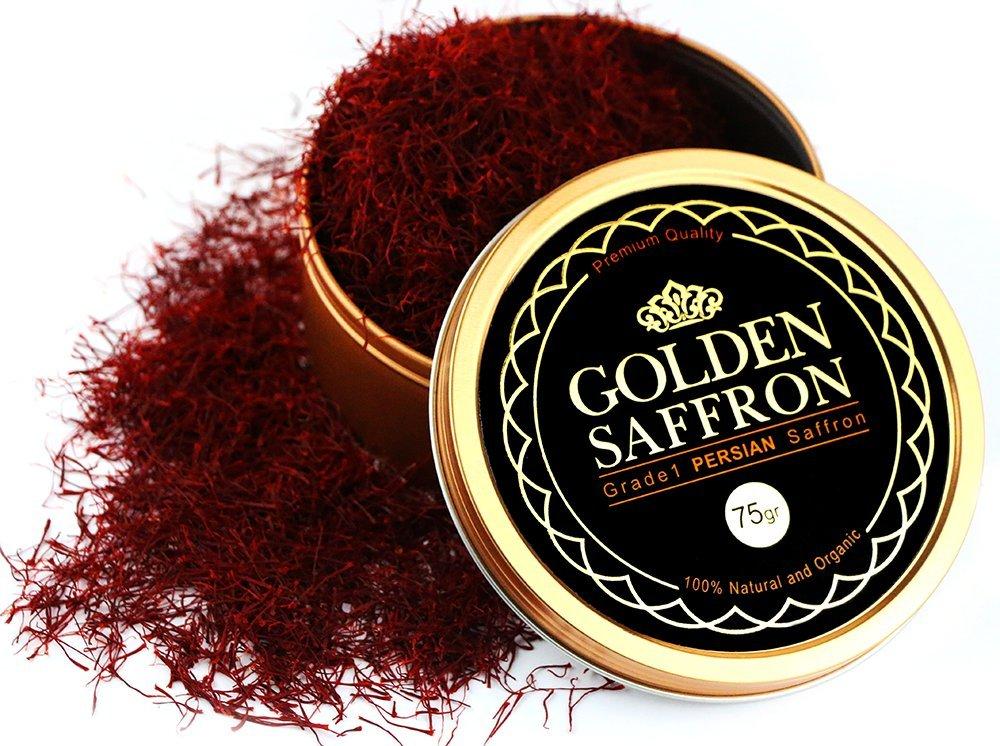 Golden Saffron, Finest Premium Persian All Red Saffron, Grade A+, Highest Grade 75 Grams (2.69 OZ)