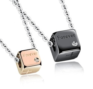 couple 316 stainless steel cube pendant necklace 2019 custom jewelry