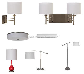 Hotel Table Lamp With Power Outlet Brushed Nickel Finish For Ul Etl