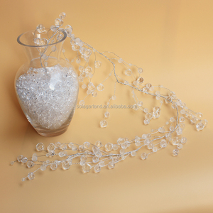 Faceted Bead Crystal Water Drop Beaded Branch Clear Acrylic Bead Wire Garland