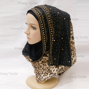 Islamic Fashion Leopard Print Beaded jersey cotton Hijab