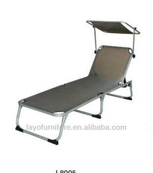 Alum Folding Chaise Lounge With Awning Outdoor Beach Chair Antique French