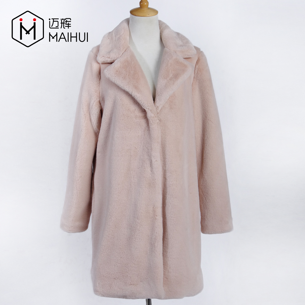 Çin'de yapılan Kadın Giyim Tavşan Kürk Mont Faux Kürk Uzun Ceket