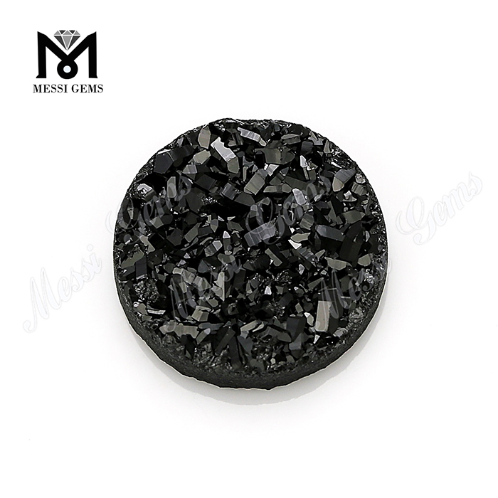 wholesale 10mm round black druzy stone natural druzy cabochon