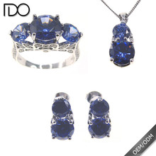 Latest design tanzanite color wedding jewelry sets
