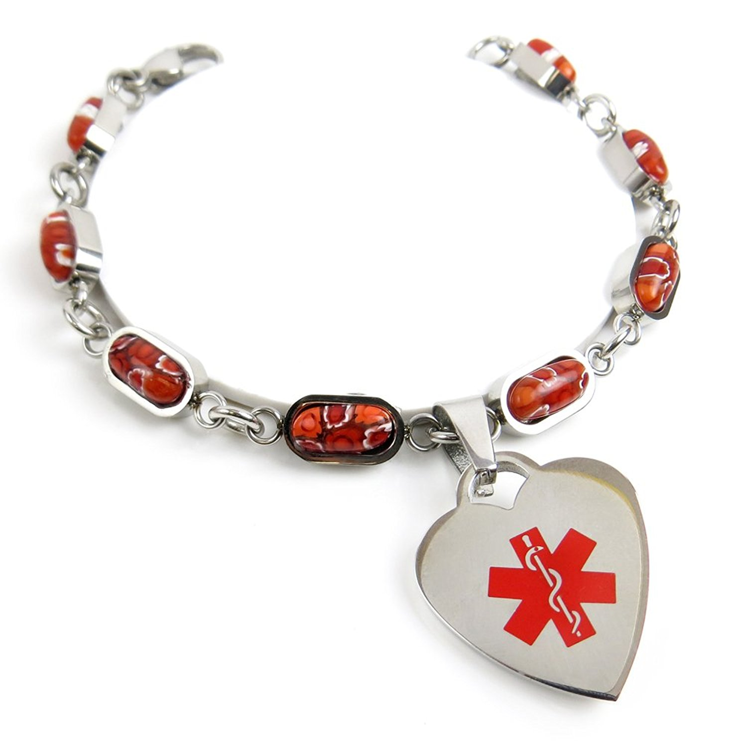 My Identity Doctor Pre-Engraved /& Customized Hearing Impaired Charm Medical Bracelet White Red Millefiori Glass