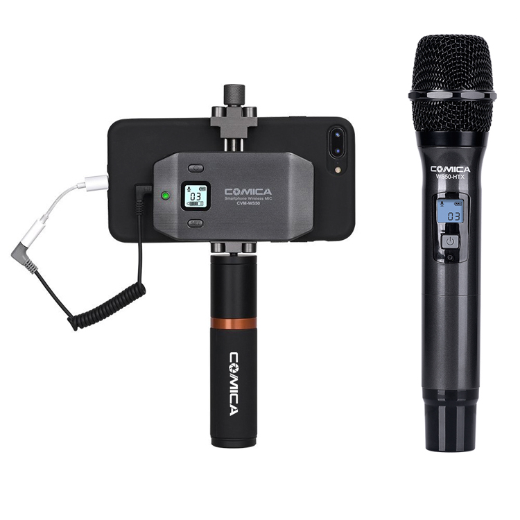 COMICA Professional 6-Channels smartphone wireless microphone with ordinary grip for Mobile Video