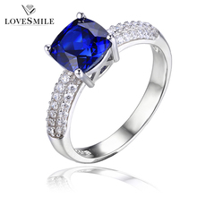 Simple design engagement cubic zirconia 925 silver ring with blue stone
