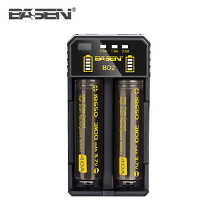battery charger 18650 Basen BO2 intelligent solar 2 slots li-ion batteries charger