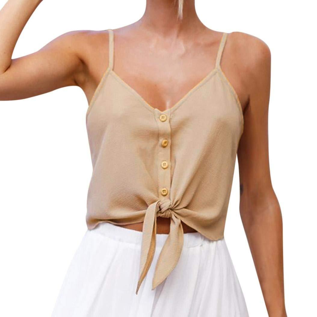 Leedford Women Vest, Ladies' Button Sleeveless Crop Top Vest Tank Shirt Blouse Chiffon Tops