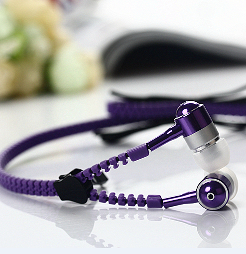 Zipper earphone with mic for mobile phone