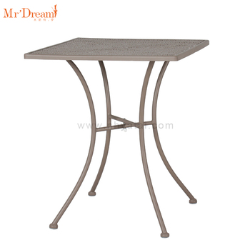 All weather modern online sale outside restaurant square iron mesh metal frame dining table