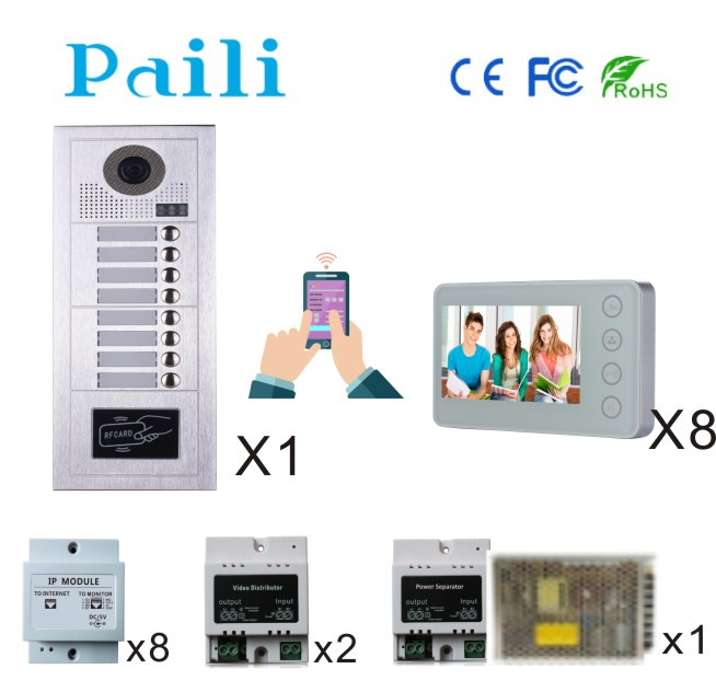 2 wires multiple apartments access intercom system video door phone