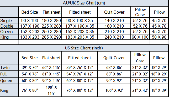comforter size chart