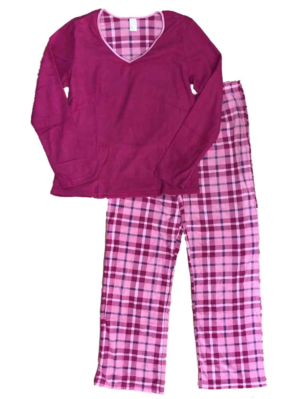 Get Quotations · Covington Womens Pink Plaid Pajamas Magenta Fleece Checker  Print Sleep Set 88907b91c