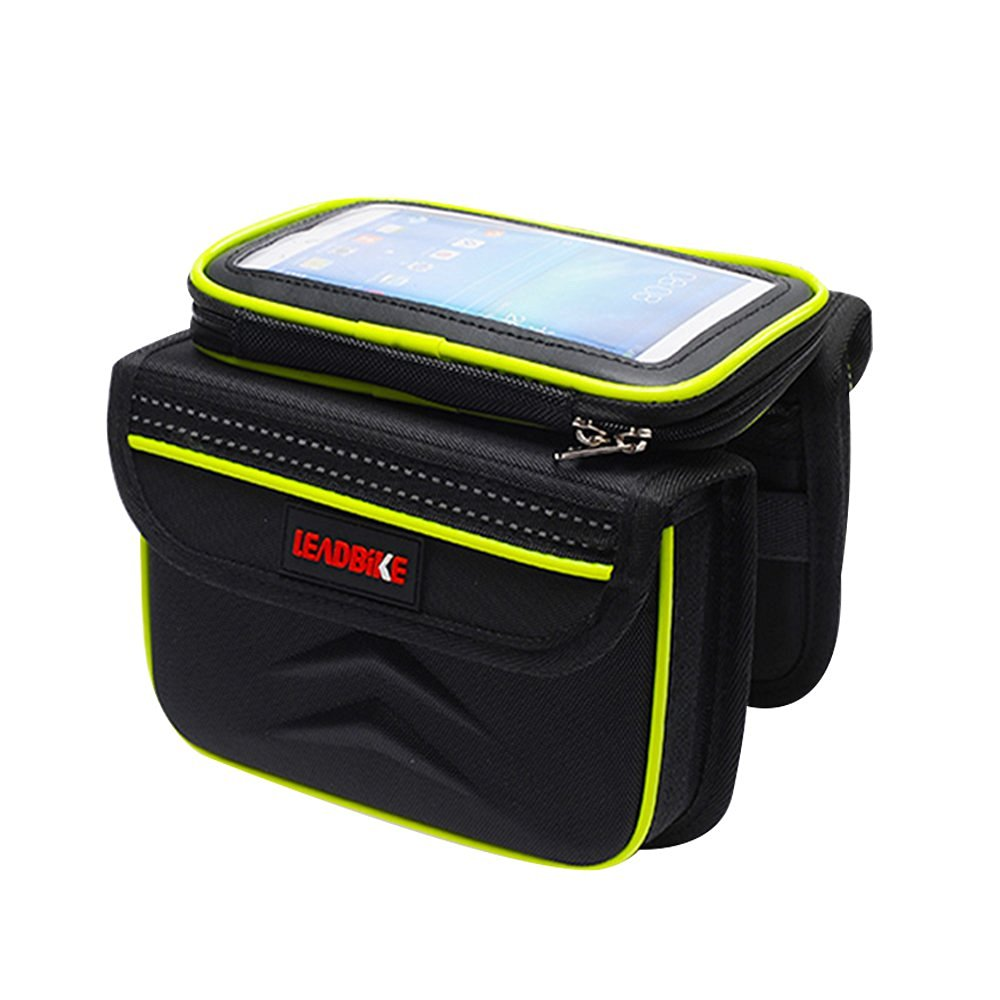 Bike Front Seat Bag/Saddle Bag/Bicycle Tube Frame Cycling Pannier Bag/Water Resistant Bike Bag/5.5 inch Mobile Phone Touch Screen Holder/Tube Bag Bike Pouch/Weather Resistant Bicycle Bag for Cycling