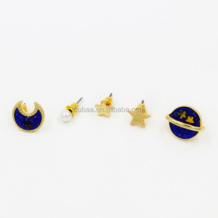 Dubaa Fashion Planet Pearl Stud Earring,Cute Star Moon Earrings ...