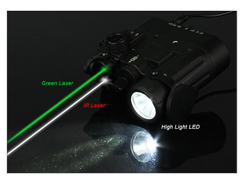 Tactical Flashlight With Dbal-d2 Dual Beam Aiming Laser Green W/ir ...