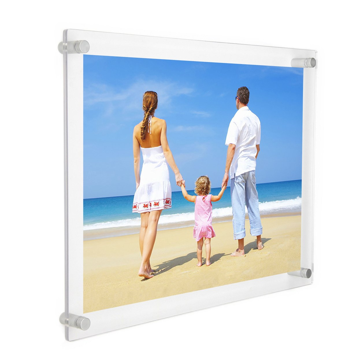 5a32a6419dd Get Quotations · NIUBEE 11x14 Clear Acrylic Wall Mount Floating Frameless  Picture Frame for Degree Certificate Photo Frames-