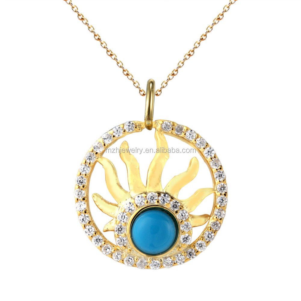 turquoise design picture star rose of sterling silver pendant en stone women