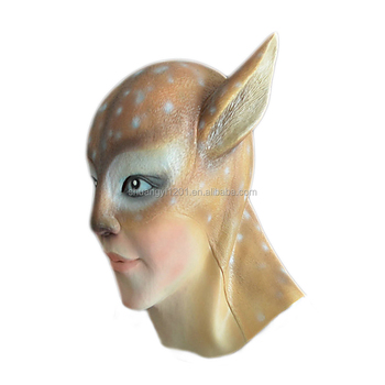 costume latex deer head mask full animal head latex mask for halloween