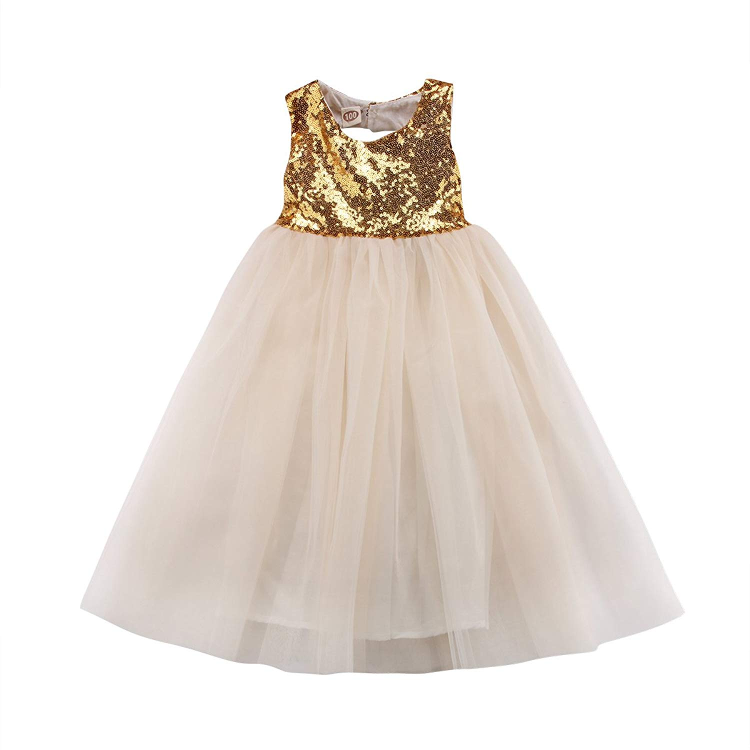 Imcute 2-8 Years Little Girls Kids Sleeveless Sequin Princess Tutu Tulle Dress for Wedding Birthday Party Prom