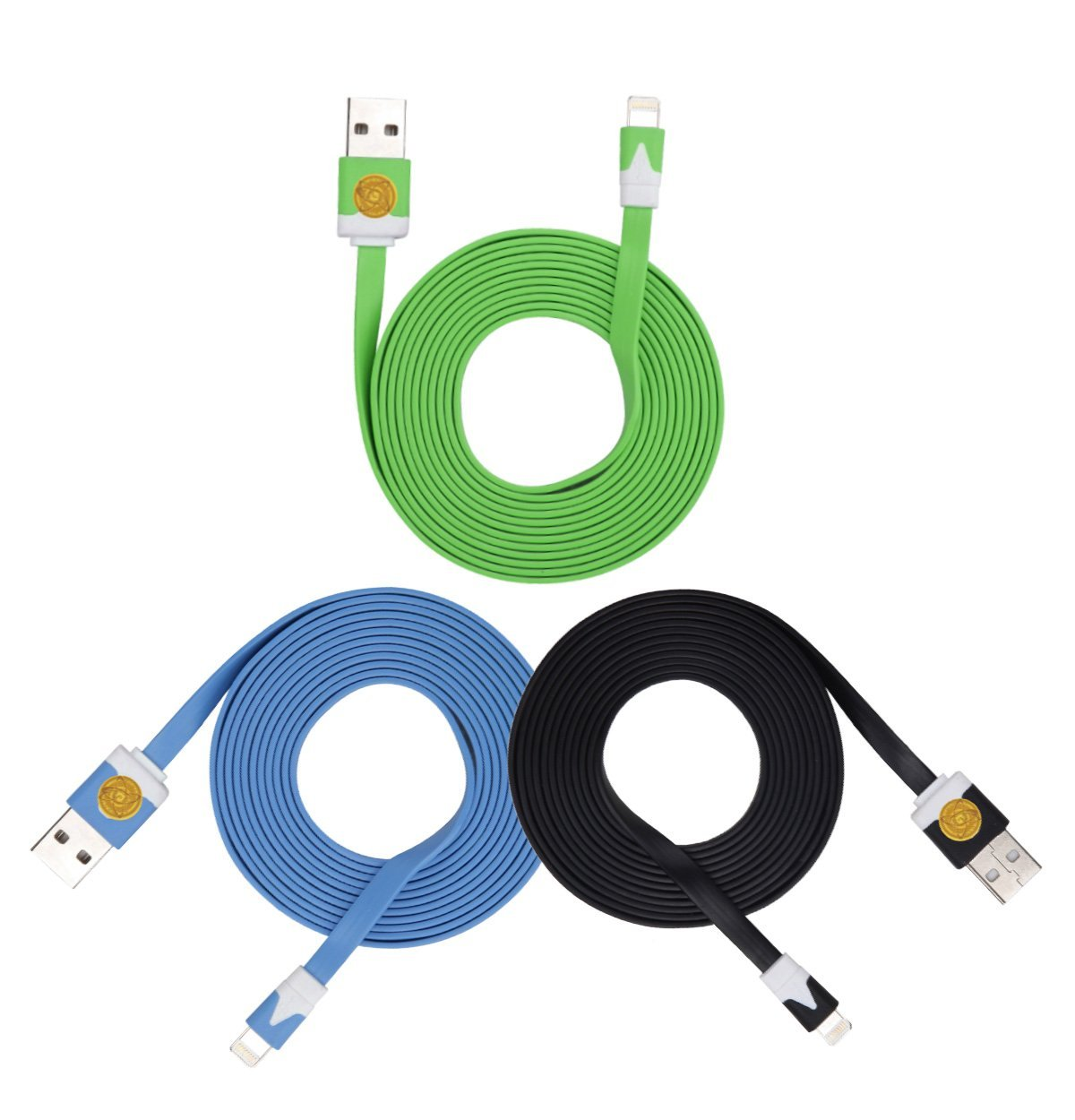 2M Heavy Duty Flat Noodle Lightning USB Cable for Apple iPhone 6,6S -Blu grn blk