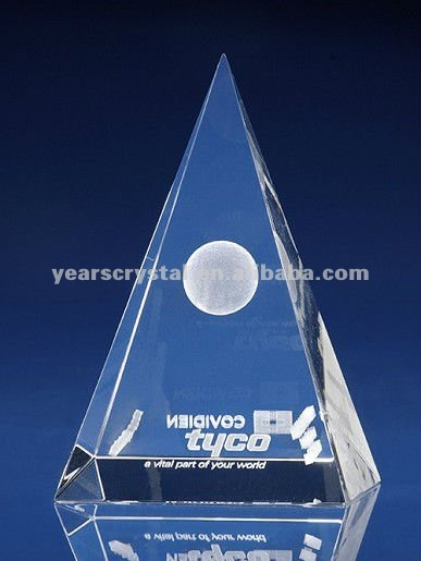 pure crystal pyramid laser engraved for business gift (R-0132)