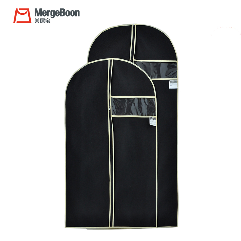 Luxury plastic pvc window suit garment bag with necktie pocket