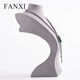 FANXI Curvy Neck Model Resin with Grey Microfiber Jewelry Display Mannequin Necklace Standing Bust