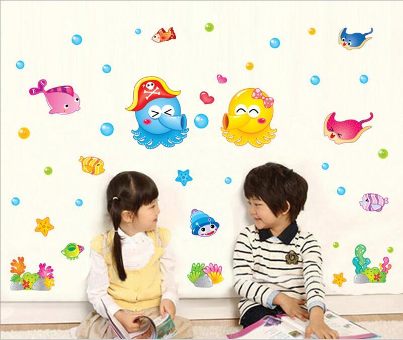 Kids Room Wall Sticker <font><b>home</b></font> <font><b>Decor</b></font> Cartoon <font><b>Colorfull</b></font> Seaworld <font><b>Home</b></font> Decoration room Decals Wall Art Sticker wallpaper