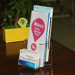 A6 Clear Acrylic Brochure Holder With Business Card Holder Wall Mount