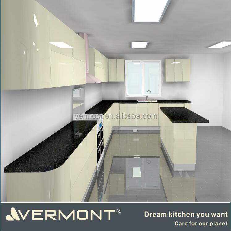2017 nuevo modelo de alto brillo gabinete de cocina con encimera de cuarzo artificial vt pk 093 for Cuisine model new