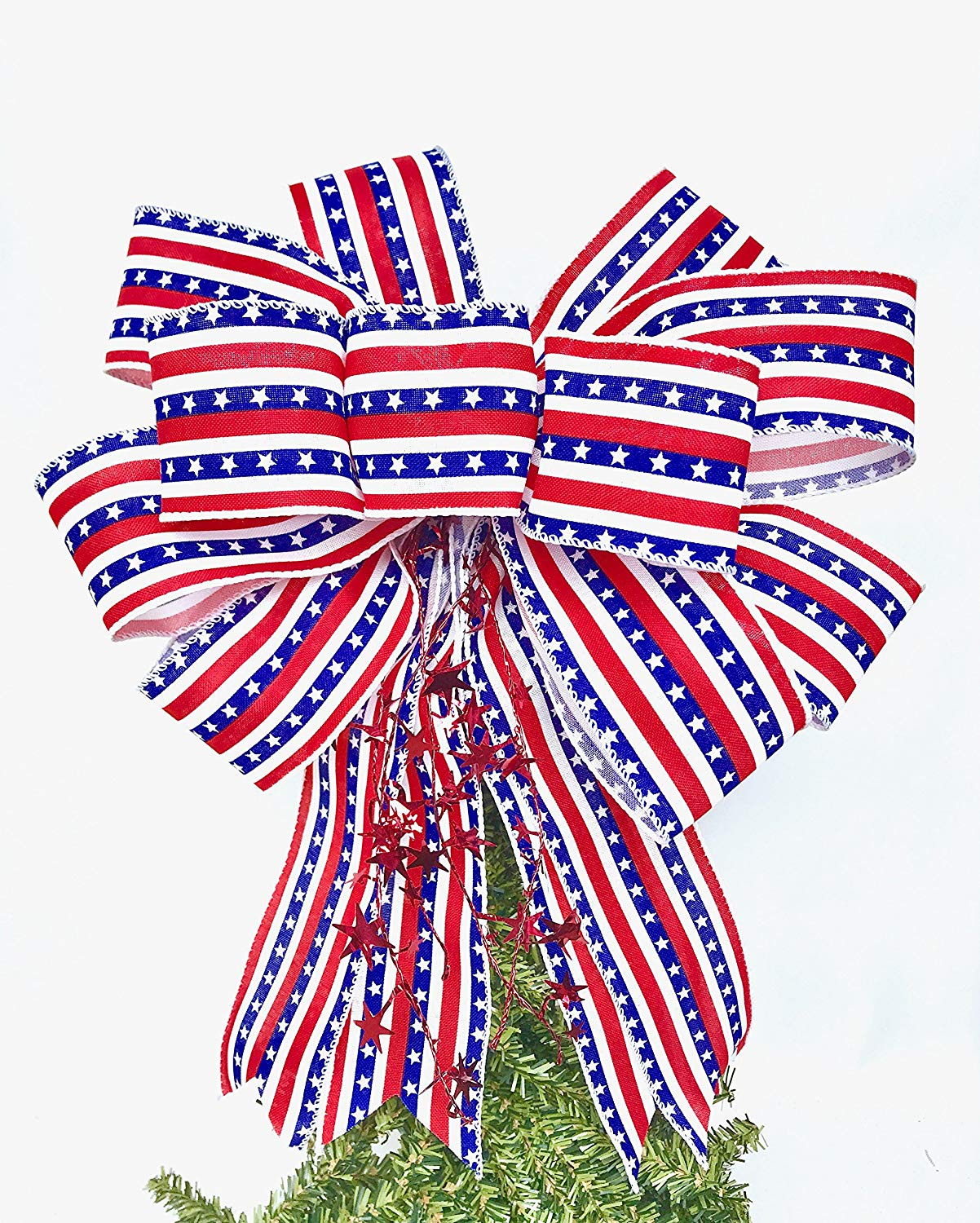 Wreath Bow, Red White Blue Handmade Large Gift Bow, Office Decorating, Fourth of July bow, Holiday Bow, Home Decor, Swag Bow, Door Decor - Handmade Bow