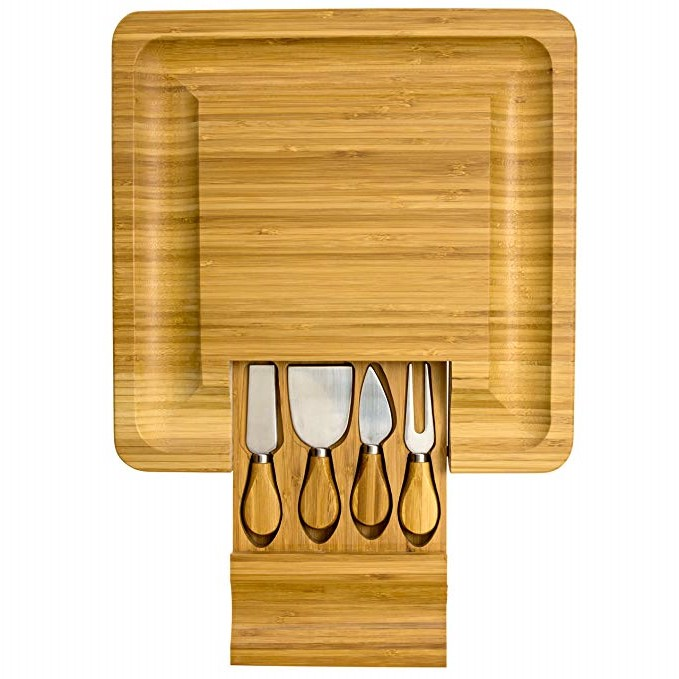 Large Natural Bamboo Cheese Board With Cutlery Set