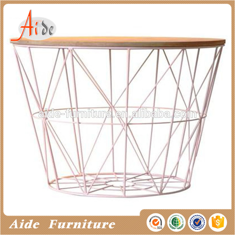 High Gloss Painting Wooden Top Metal Frame Corner Coffee Table