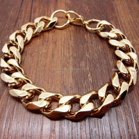 gifts for men 24k gold cable chain stainless steel curb cuff bracelet