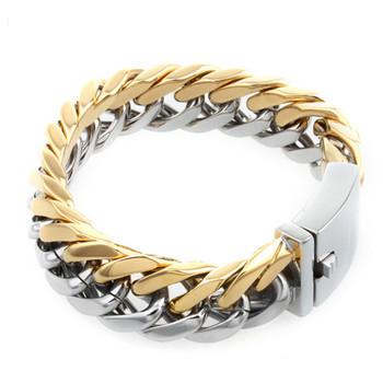 3141a85c69ea Yiwu Aceon trenzado de acero inoxidable cadena gruesa de plata y oro  pulsera para hombre mejor