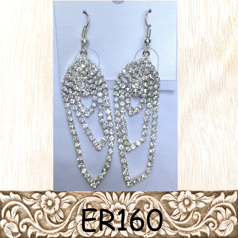 Wholesale cup chain earring high quality handmade clear crystals fish hook long earring