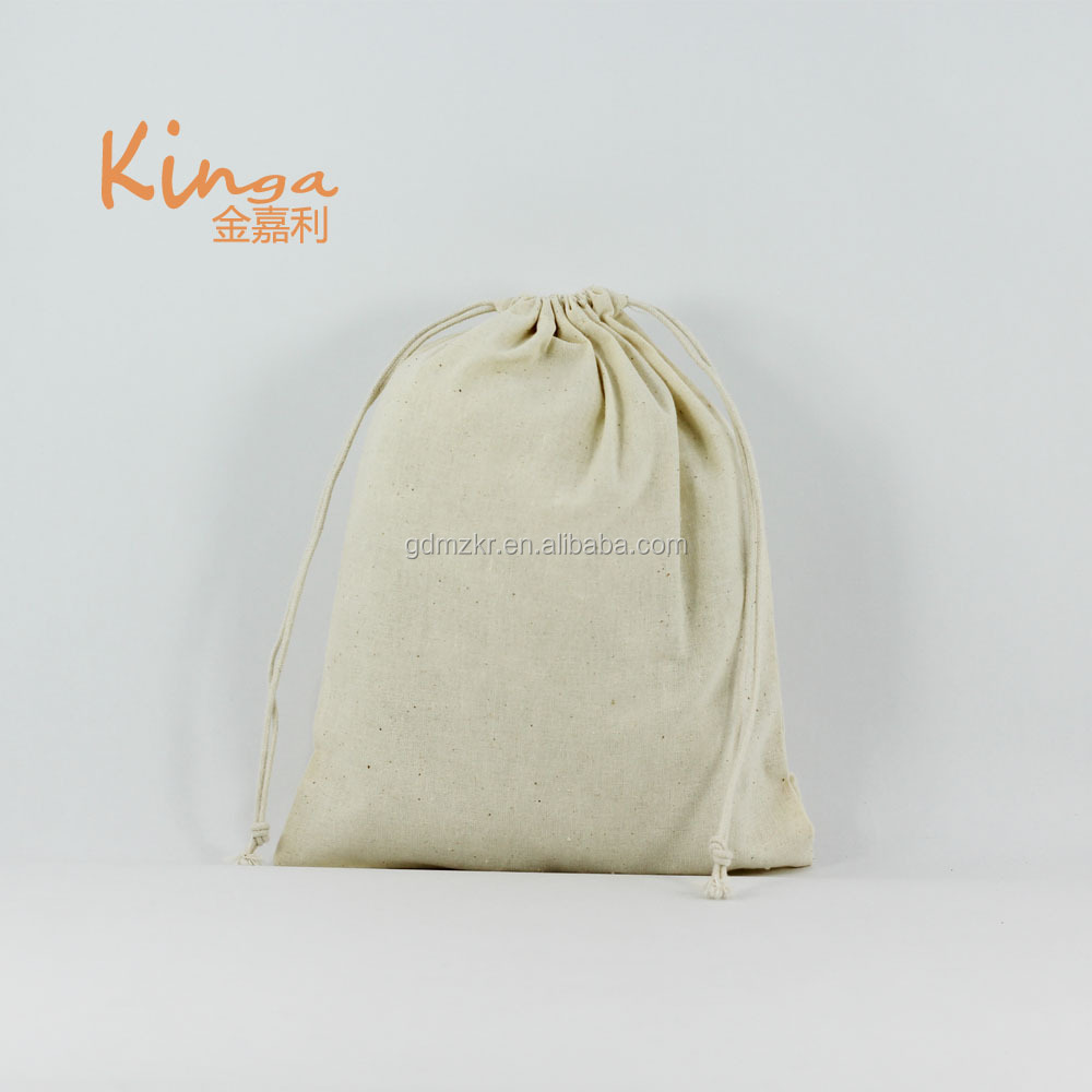 <strong>Eco</strong> wholesale recycle small dust grocery cosmetic carry cotton cloth drawstring bag