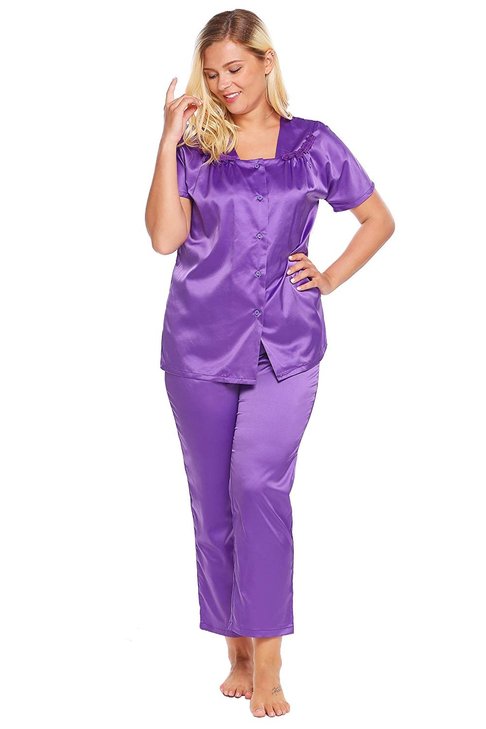 b77f1abd02 Get Quotations · Langle Womens Plus Size Pajamas Tops and Pants Sets Short Sleeves  Nightgowns L-4XL
