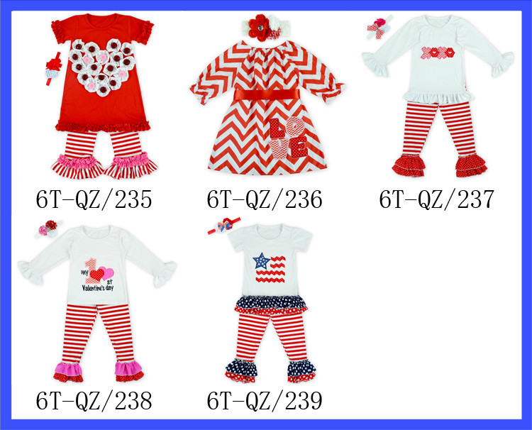Boutique Red Baby Valentines Day Clothes In Decorative Buttons Heart Children Kids Summer Clothes Clothing Sets For Girls