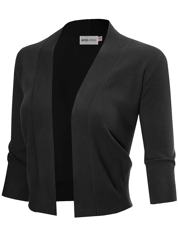 MAYSIX APPAREL 3/4 Sleeve Solid Open Bolero Cropped Cardigan for Women (S-XL)