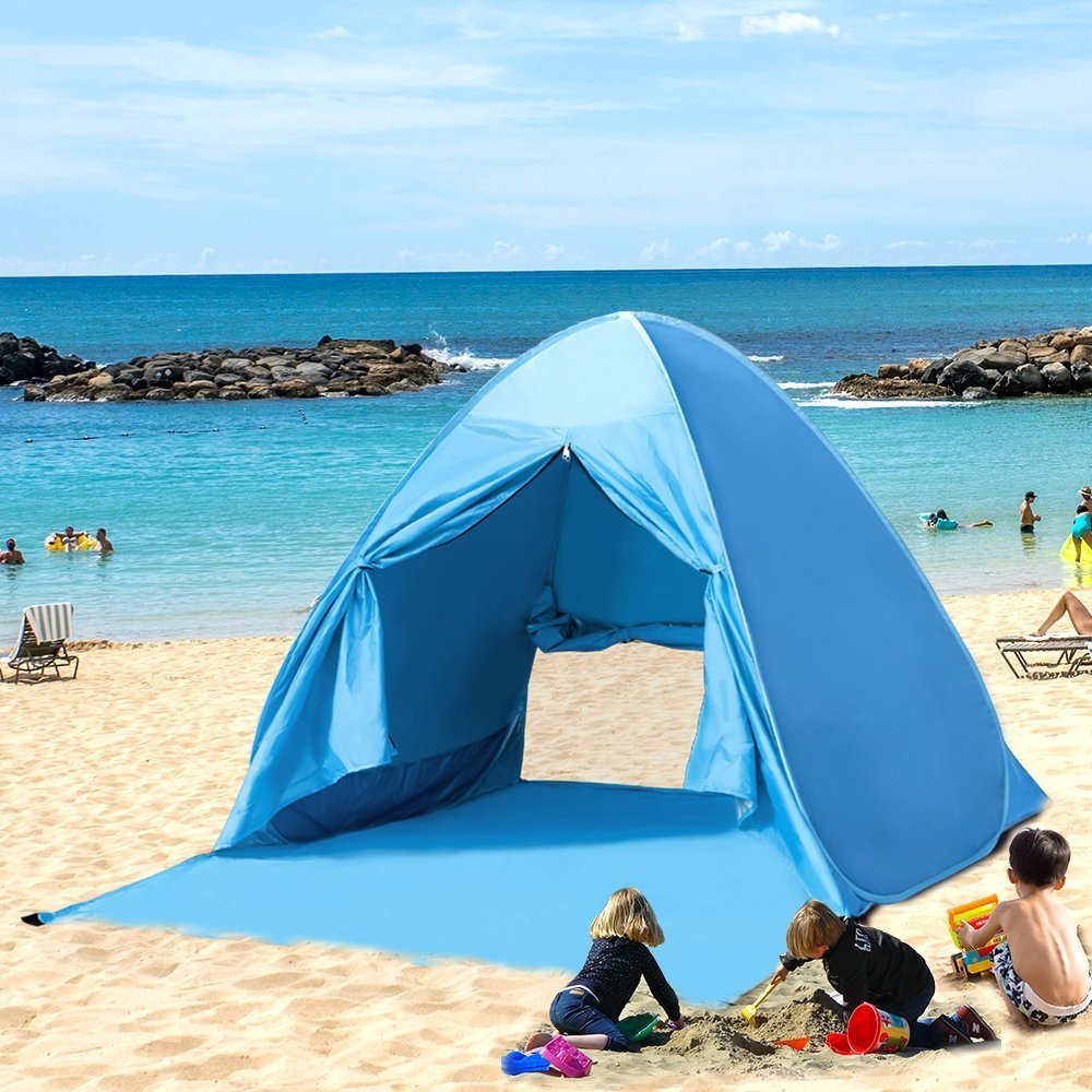 Extra Large Instant Easy Beach Tent Sun Shelter Blue Pop-Up Sun Shelter with Mini : easy beach tent - memphite.com
