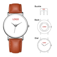 Genuine Leather Customized Your Own Photo Unisex Watch Custom Design Printing Watch Sublimation Blank Face