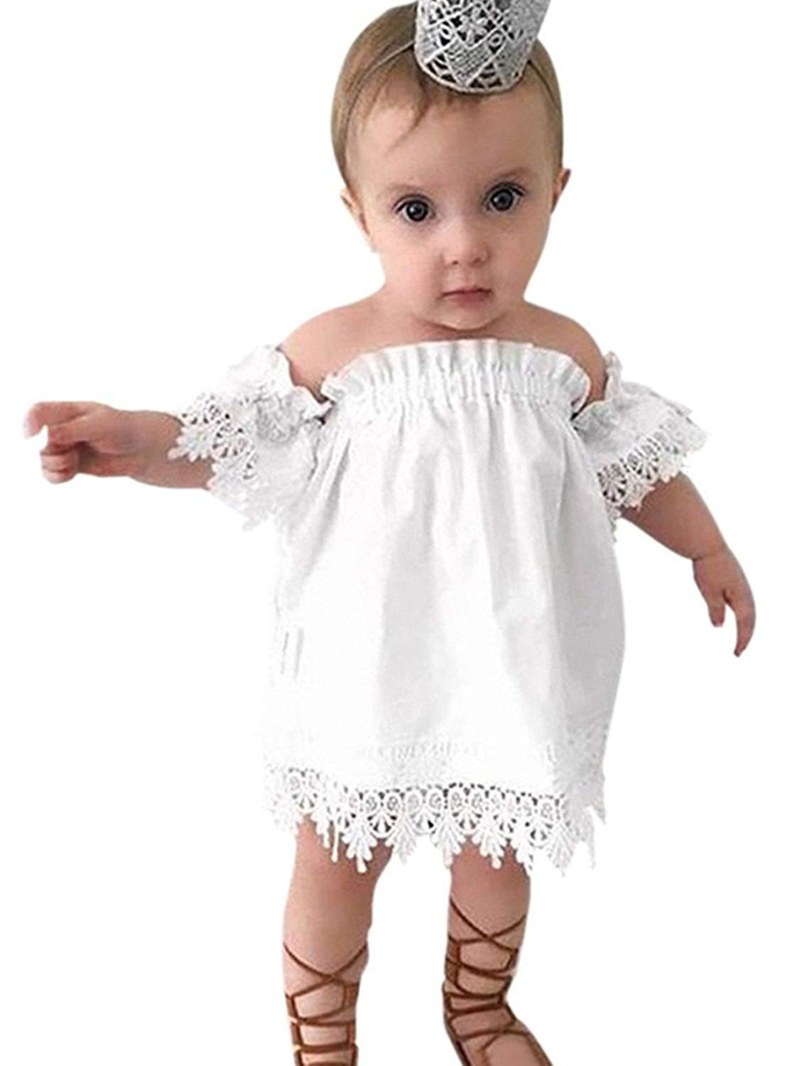 7b7a6de5437a Buy Kids Baby Girls Princess Party White Off-shoulder Lace Floral ...