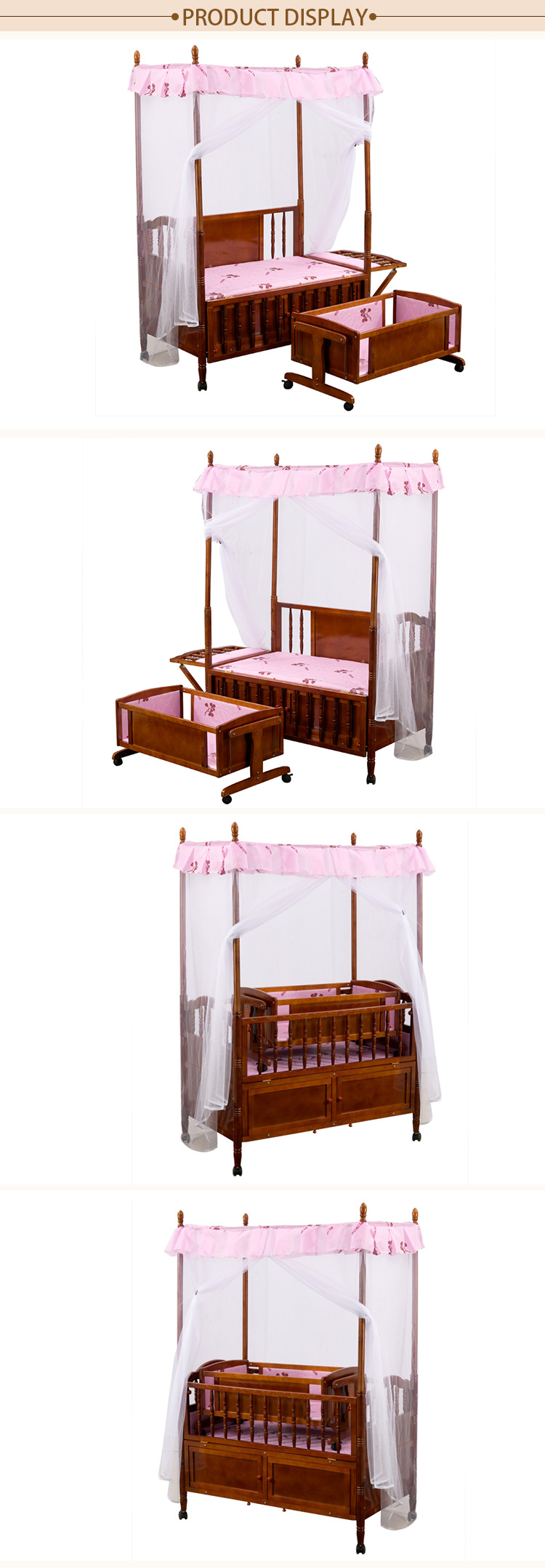 Wholesale Multifunctional Solid Wood Baby Crib With Swing