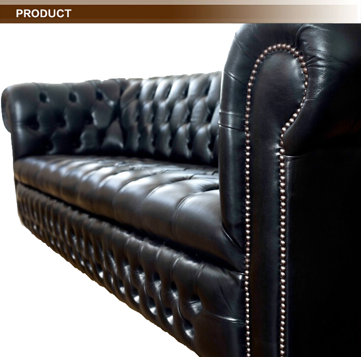 Modern Leather Sofa Ludlow Black Chesterfield Sofa Living Room Sofa 3  Seaters