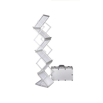 Portable Z Type Floor Modern Acrylic Brochure Holder Stands A4 With Aluminum Case